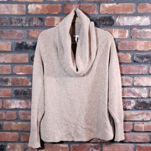 Joie Marled Tan Wool Blend Cowl Neck Sweater